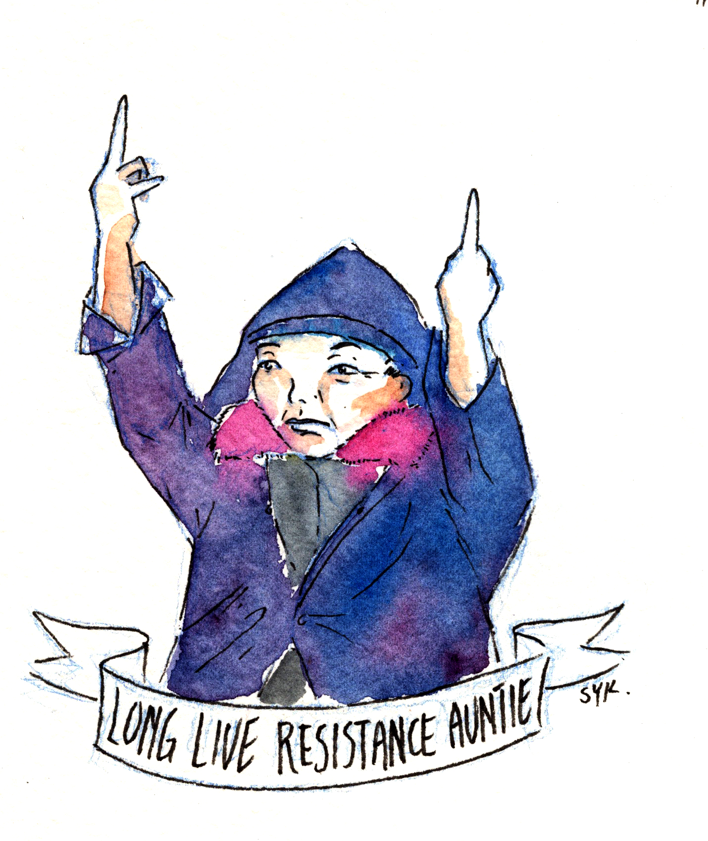 """Painting of """"Resistance Auntie"""" by Shing Yin Khor"""
