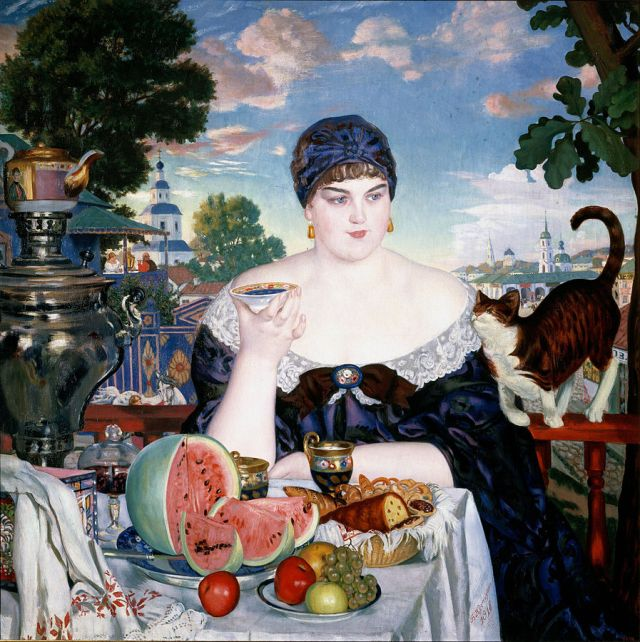 Boris_Kustodiev_Merchant's_Wife_at_Tea